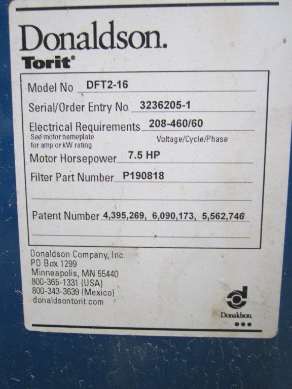 Model Plate for Donaldson Torit DFT 2-16