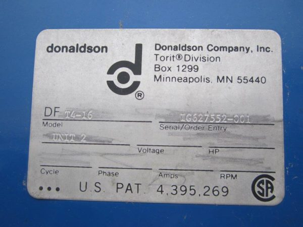 Model Plate for Donaldson Torit DFT 4-16