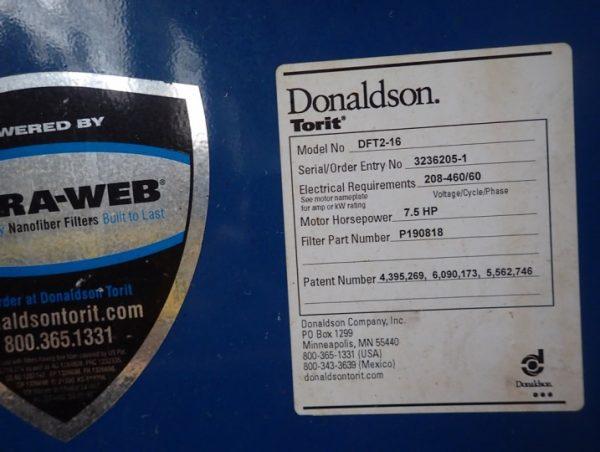 Donaldson Torit DFT 2-16 Model Plate