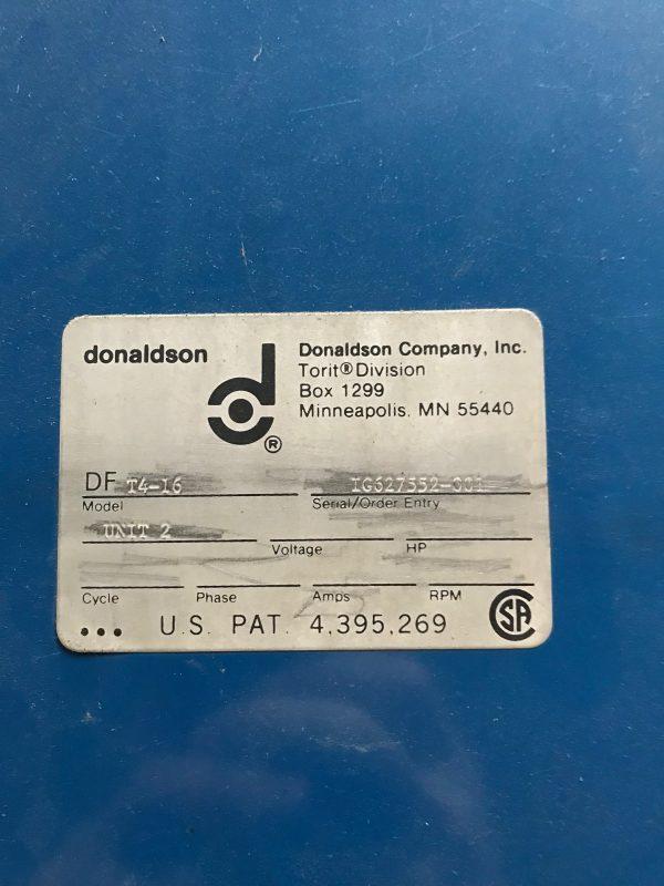 Donaldson Torit DFT 4-16 Model Plate