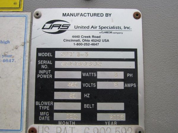 United Air Specialists SFC 6-3 Model Plate