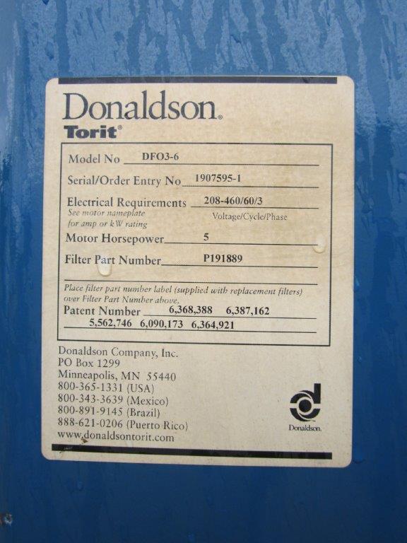 Donaldson Torit DFO 3-6 Model Plate