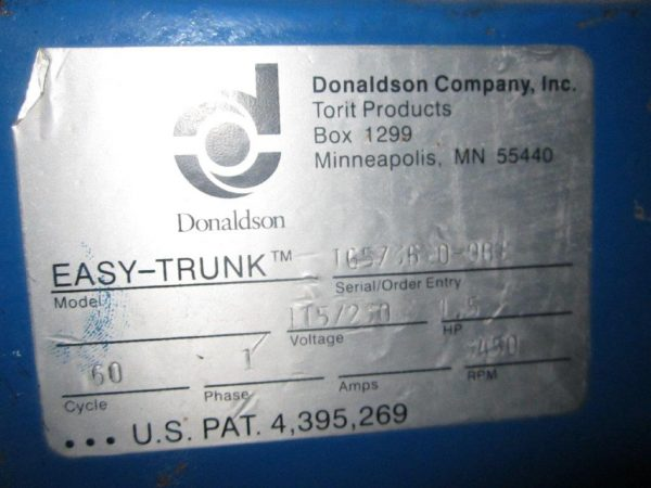 Model Plate for Donaldson Torit Easy-Trunk
