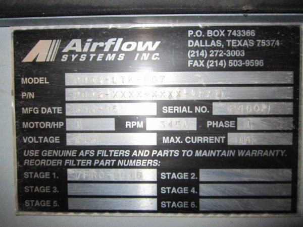 Model Plate for AirFlow Systems PC02-LTK-PG7